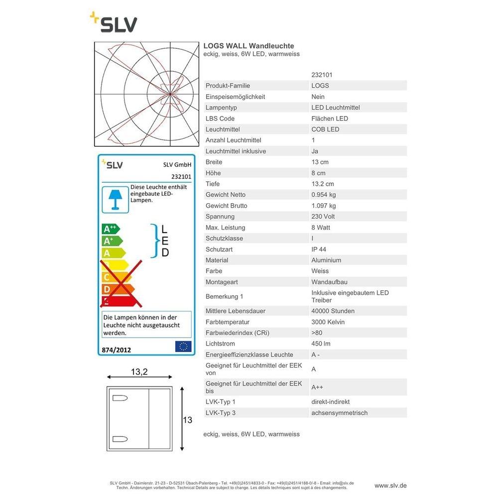SLV LOGS Wall Wandleuchte eckig weiss 6W LED Warmweiß 5