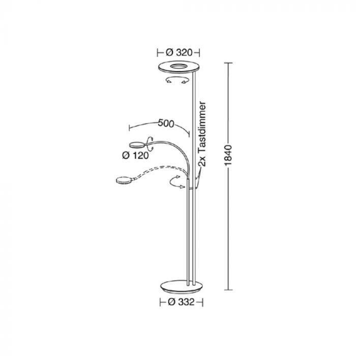 Holtkötter Deckenfluter NOVA FLEX Alu-Matt, Sand Tastdimmer LED-Power warmweiss 2