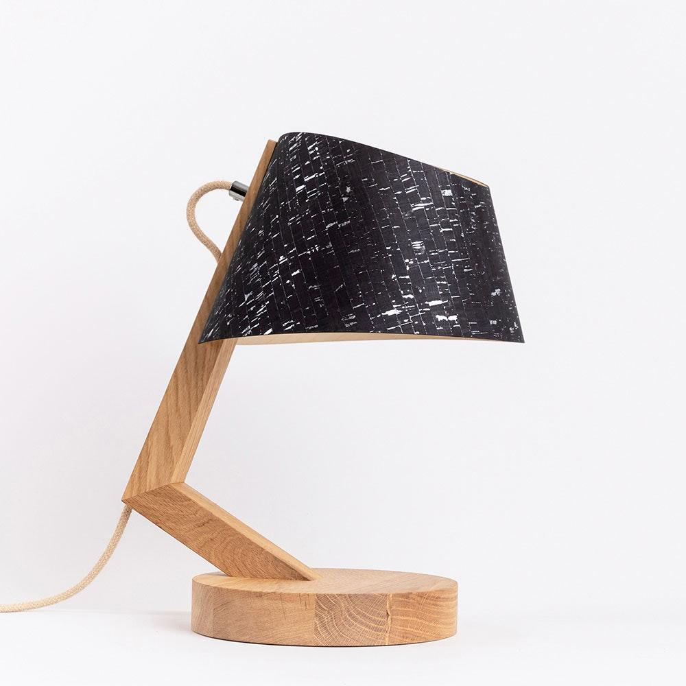 Holz Tischleuchte mit Schirm geschwungen 5