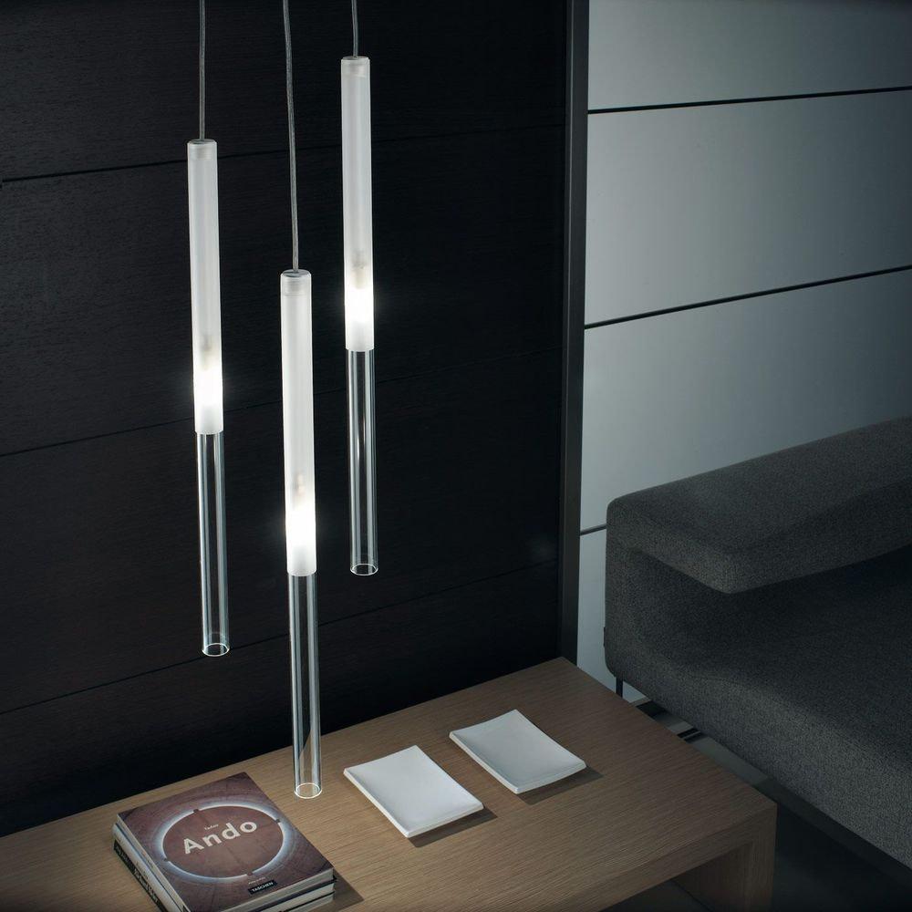 Panzeri Candle LED-Pendelleuchte Glaszylinder 1