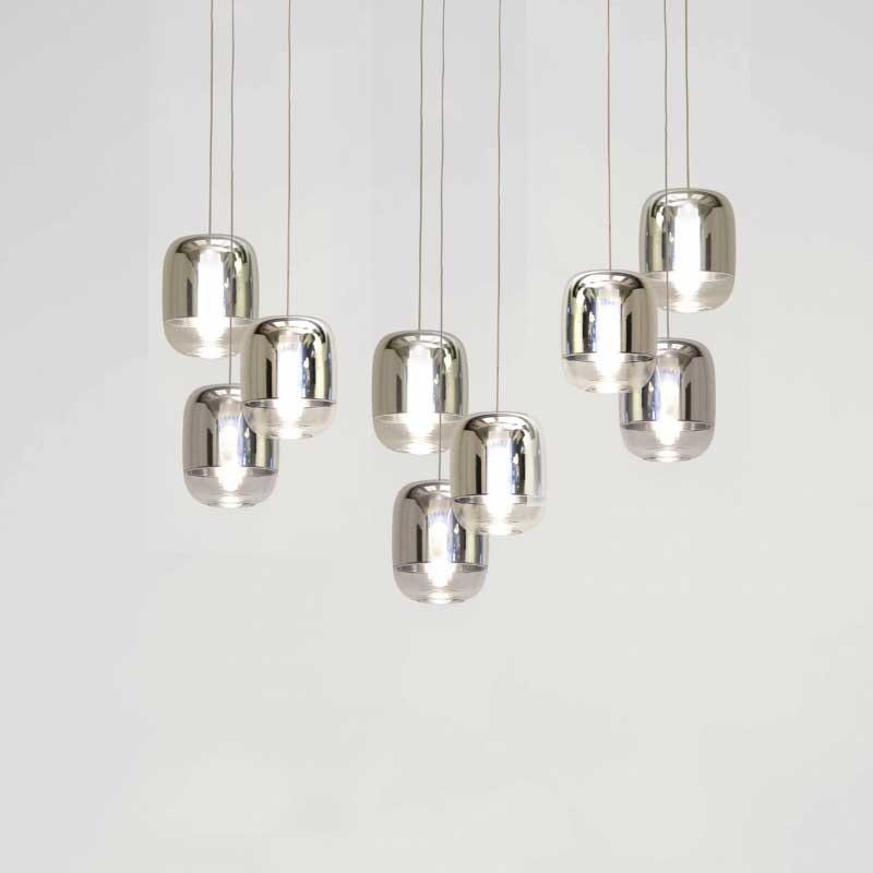 Prandina lange Hängeleuchte Gong Mini 9-flammig Silberfarben 1