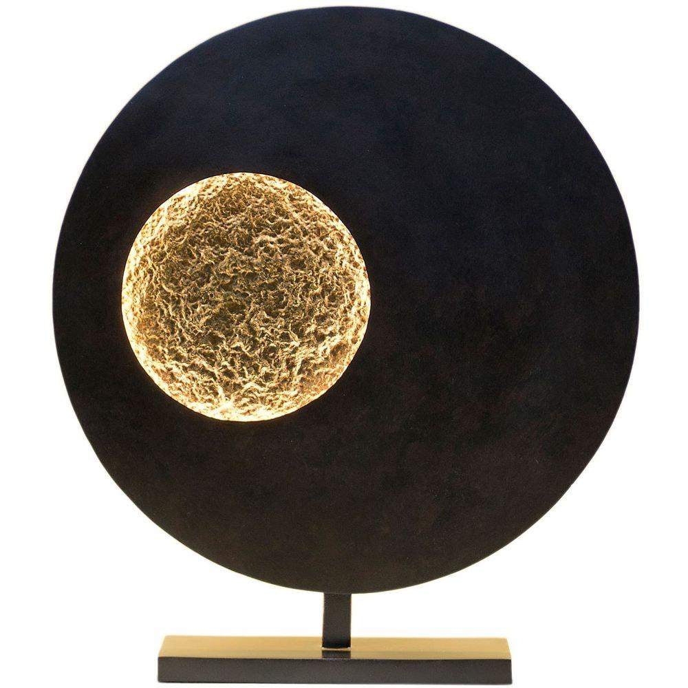 Tischleuchte Luna Rund Eisen Braun-Schwarz-Gold 4