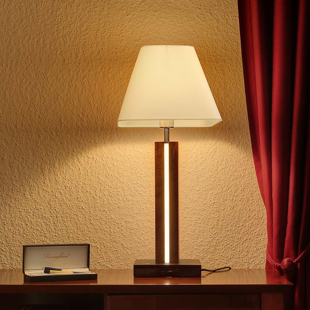 LED Tischlampe Quad 980lm Touch-Dimmer Nussbaum, Weiß, Schwarz 2