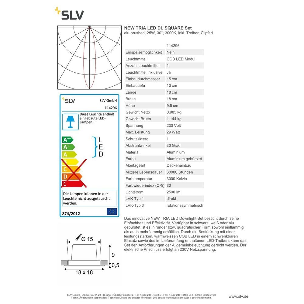 SLV New Tria LED DL Square Set Alu-Gebürstet 25W 30°, 3000K, inkl. Treiber, Clipf. 4