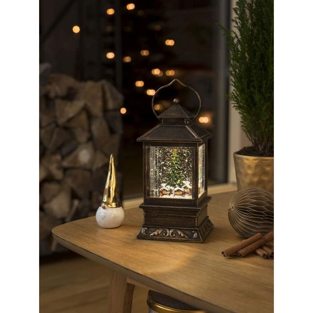 LED Schneelaterne Weihnachtsmarkt wassergefüllt warmweiß batteriebetrieben Innen 1