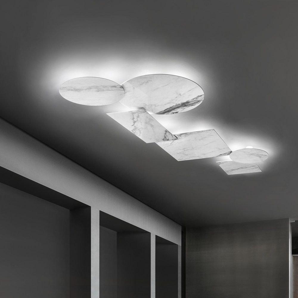 Studio Italia Design Puzzle Mega Square 53cm Wand- & Deckenlampe Marmor 1