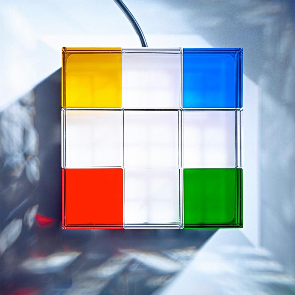 Tecnolumen Tischleuchte Cubelight Edelstahl Glas klar farbig 2