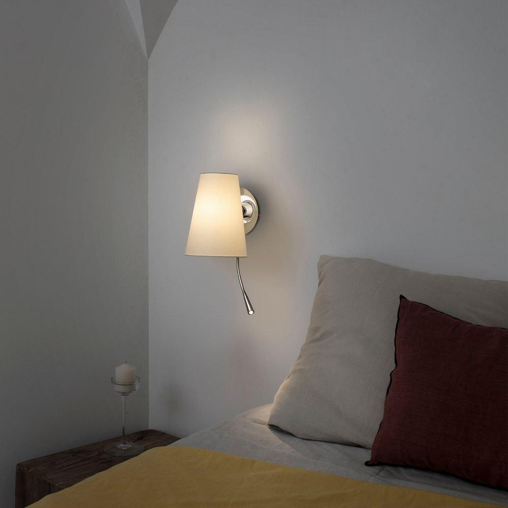 Wandleuchte LUPE mit LED-Leselicht Chrom, Weiß 2
