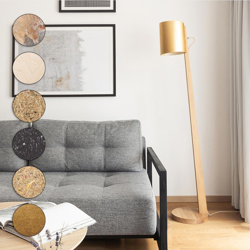 Holz Stehlampe mit Schirm Zylindrisch 167cm 1