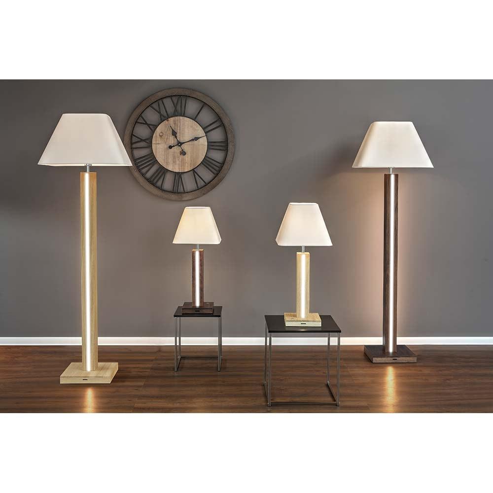 LED Tischlampe Quad 980lm Touch-Dimmer Nussbaum, Weiß, Schwarz 4