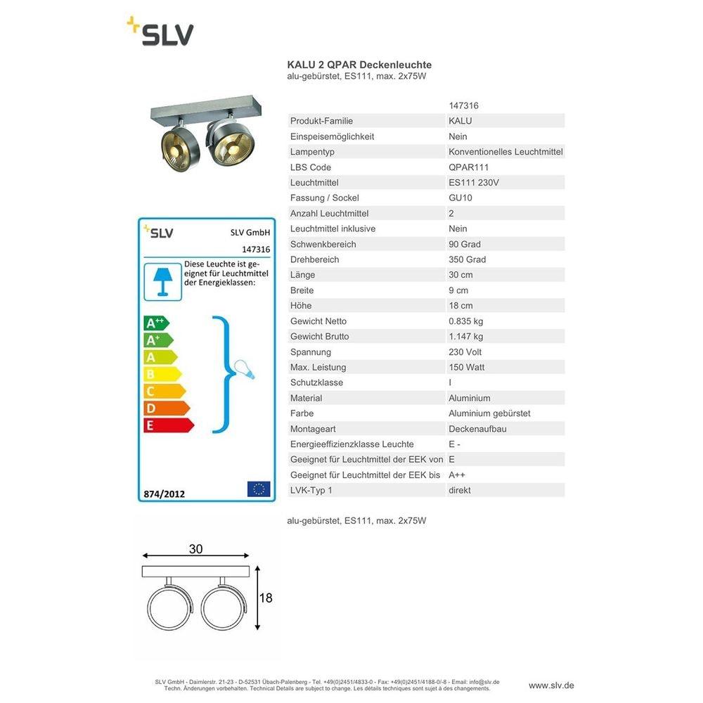 SLV Kalu 2 QPAR Deckenleuchte alu-gebürstet ES111 max. 2x75W 2