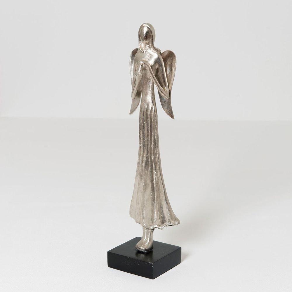 Engel Margareta Aluminium-Holz Silber-Schwarz 2
