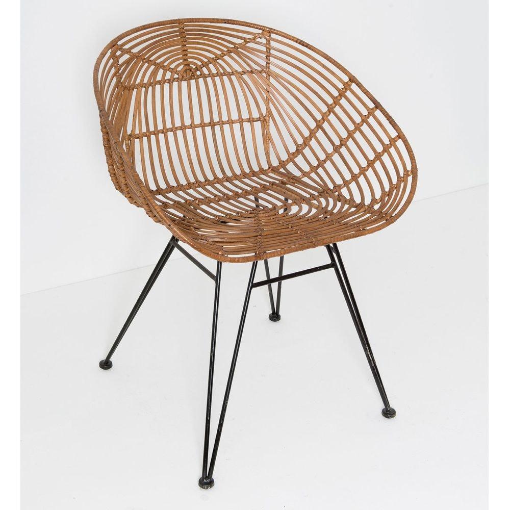 Stuhl mit Lehne Seguito Rattan-Metall Honigbraun-Schwarz