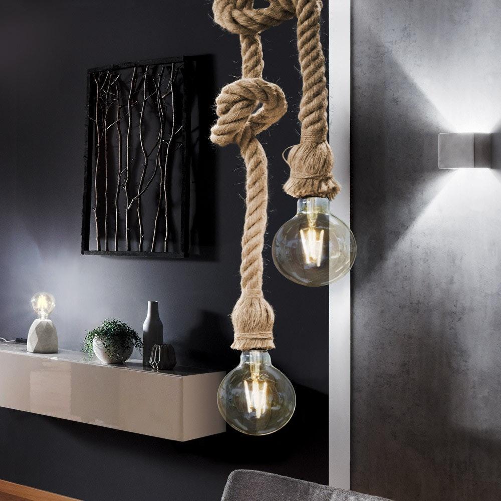 s.LUCE Rope Seil-Hängeleuchte mit 2 Fassung 250cm Braun 6