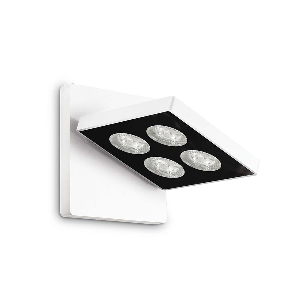 Ideal Lux LED Wandleuchte Garage 4-flg. Quadratisch Weiß