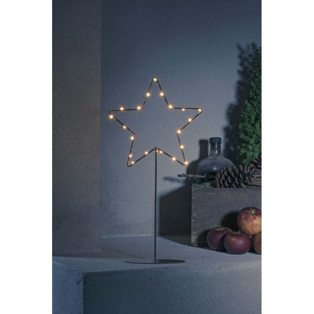 LED Metallstern mit Metall-Fuß kupferfarben 20 bernsteinfarbene Dioden batteriebetrieb 1