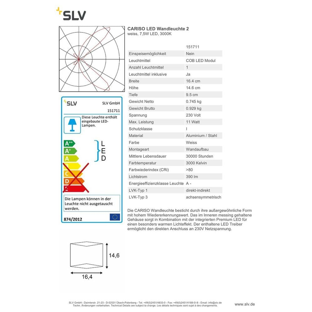 SLV CARISO LED Wandleuchte 2 Weiß 7,5W LED 3000K 3