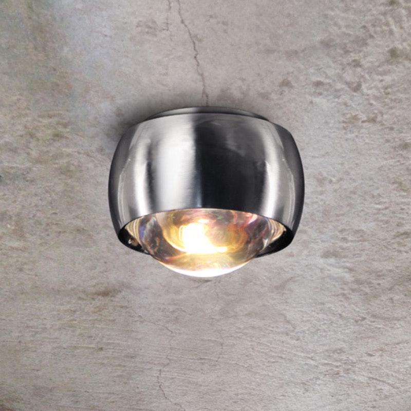 s.LUCE Beam LED Deckenleuchte mit Glaslinse Ø 8cm Alu-Gebürstet