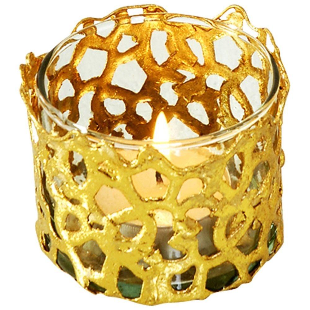 Windlicht Utopistico Klein Metall-Glas Gold 2
