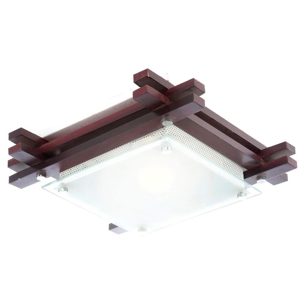 Edison Deckenleuchte Holz dunkel Glas sat 60W E27