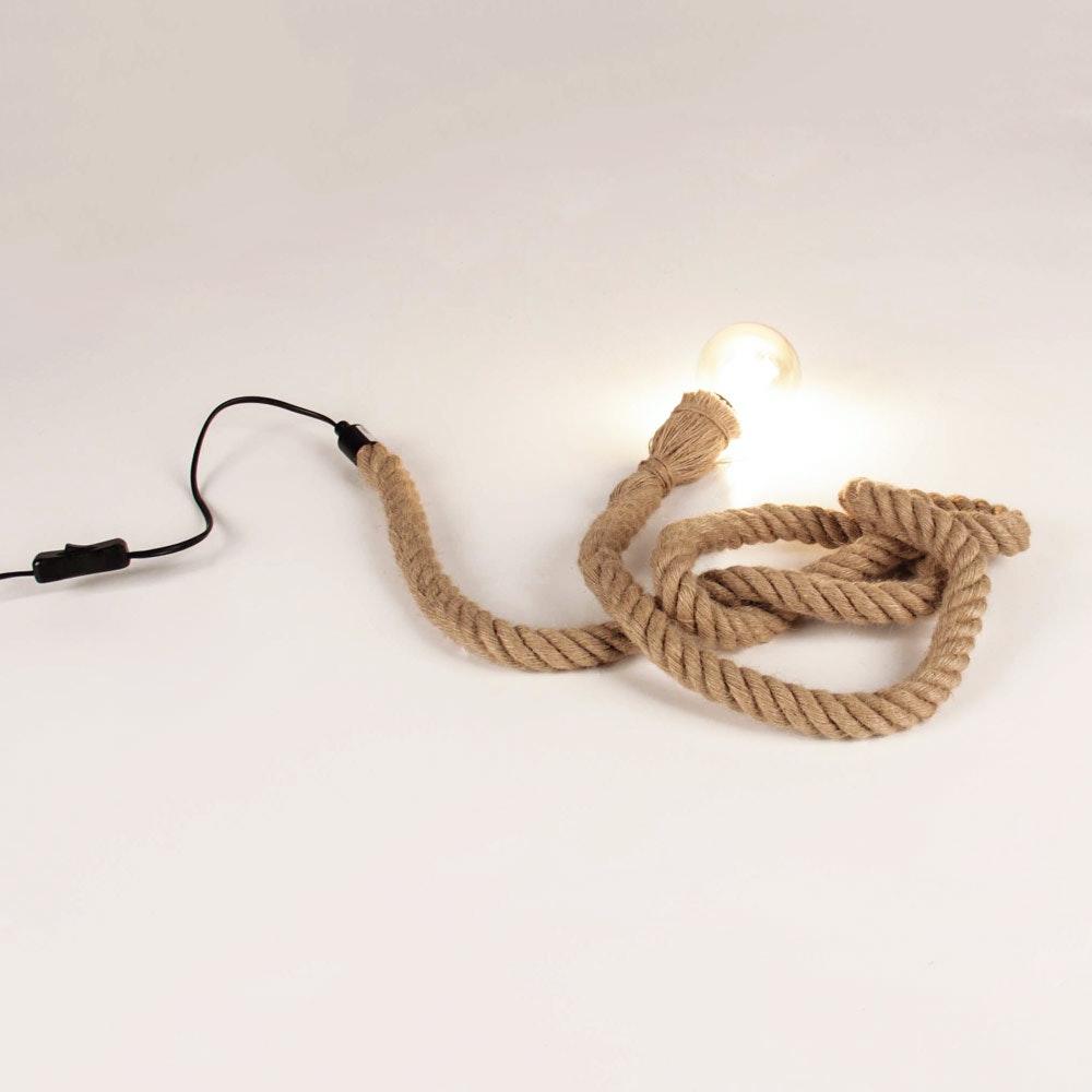 s.LUCE Rope Seil-Tischleuchte mit Fassung 200cm Braun thumbnail 4