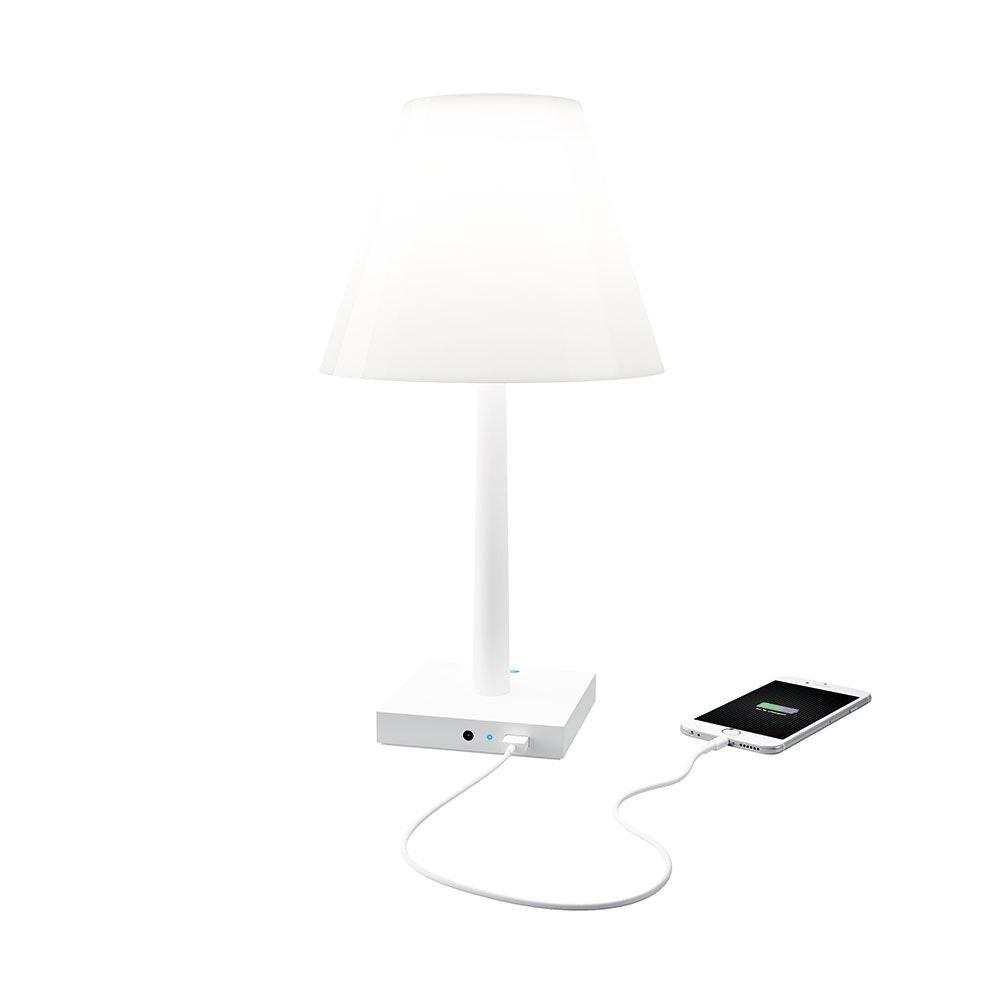 Dina+ Akku LED-Tischleuchte mit Ladestation Weiß 2