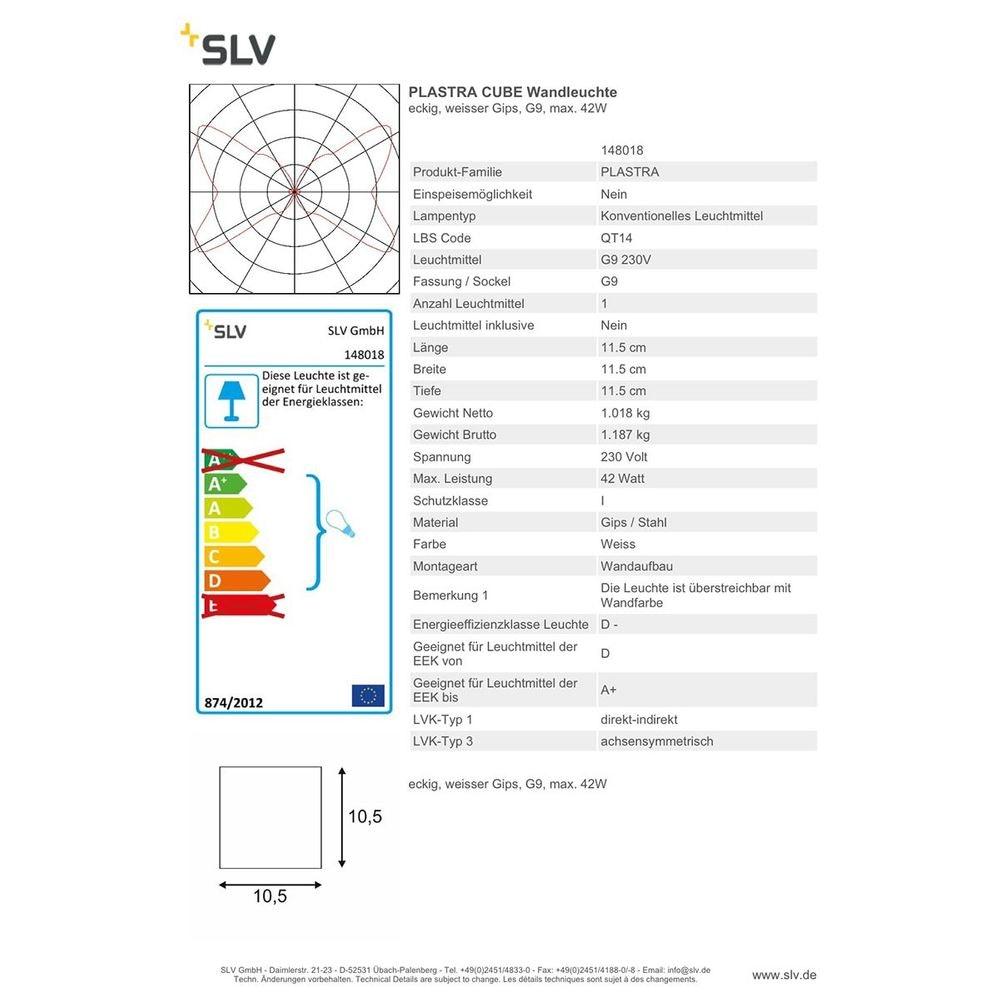 SLV Plastra CUBE Wandleuchte eckig weisser Gips G9 max. 42W thumbnail 4
