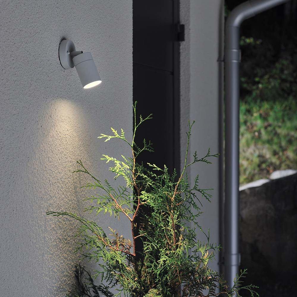 Modena Energiespar Wandspot schwenkbar Grau, klares Glas 2