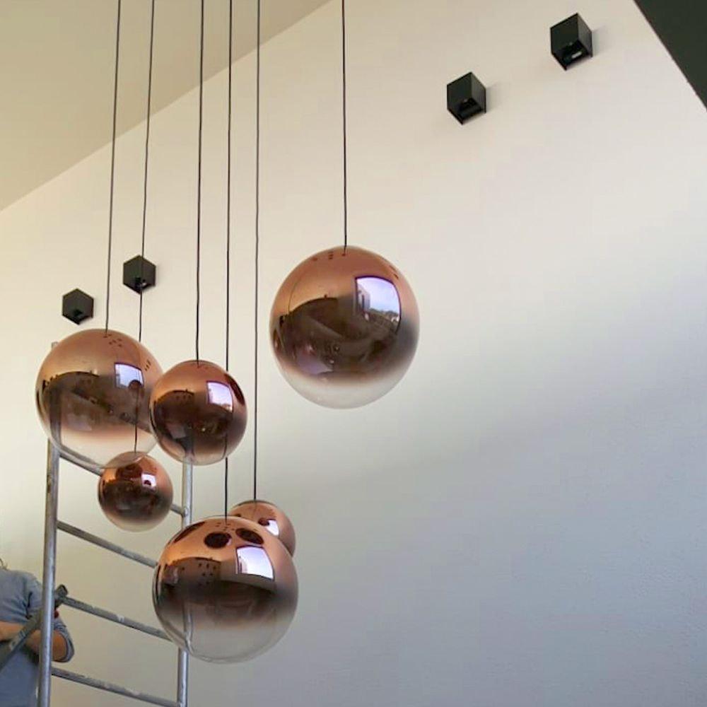LED Pendellampe Glaskugel Reflex Ø 40cm Schwarz, Chrom 5