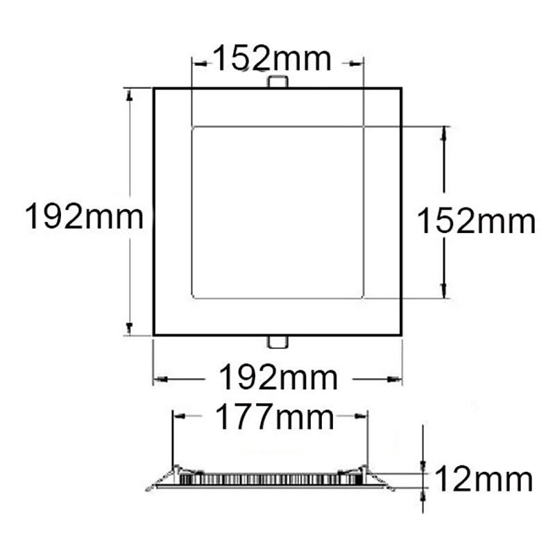 LED Einbaupanel 19 x 19cm flach eckig silber dimmbar 15W neutralweiß 3