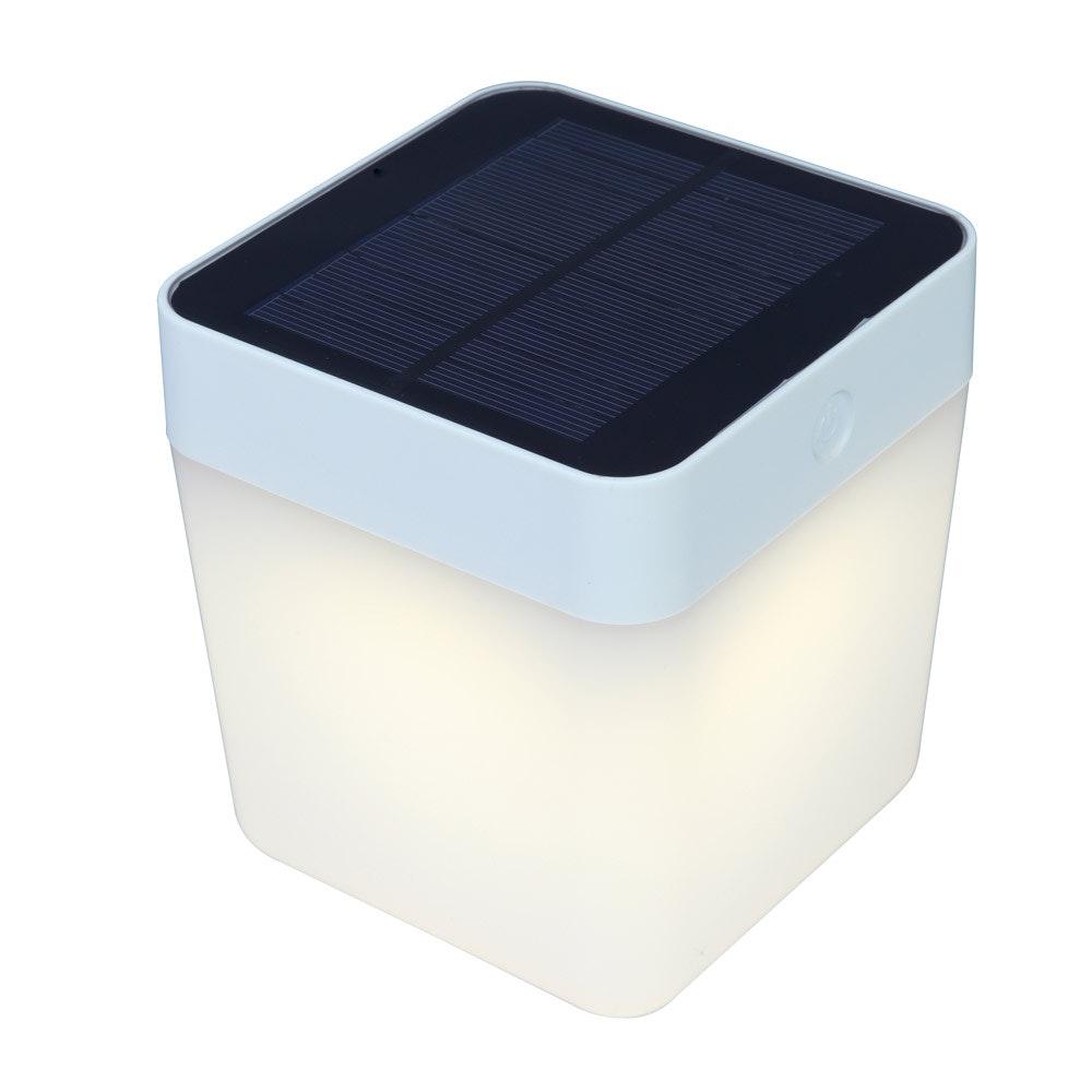 Dimmbare Solar-Tischleuchte Table-Cube IP44 Weiß 4