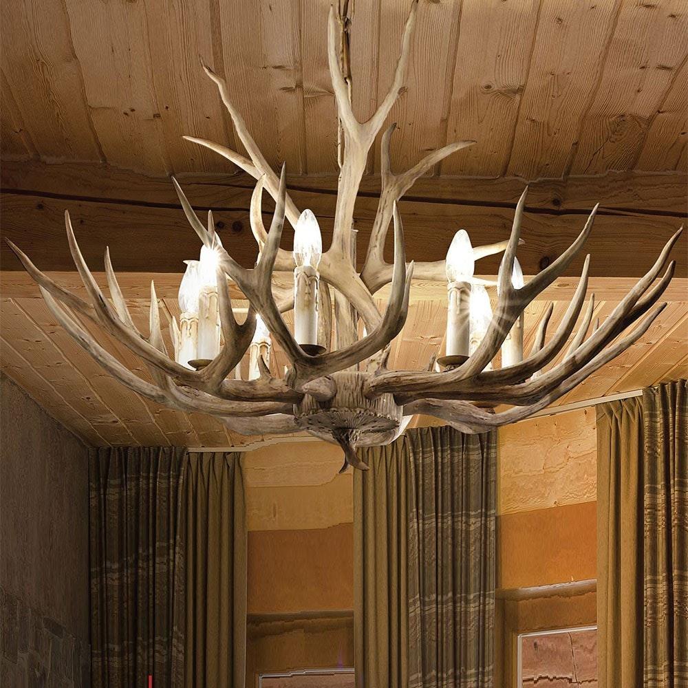 Chalet XL Holz Geweih-Lüster Ø 100cm 12-flammig