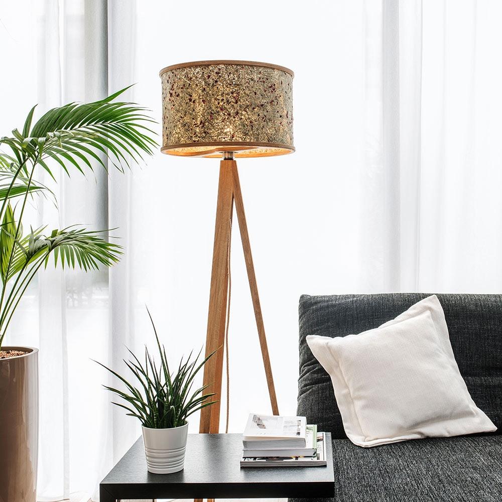 Holz Stehlampe 163cm mit Heuschirm 16