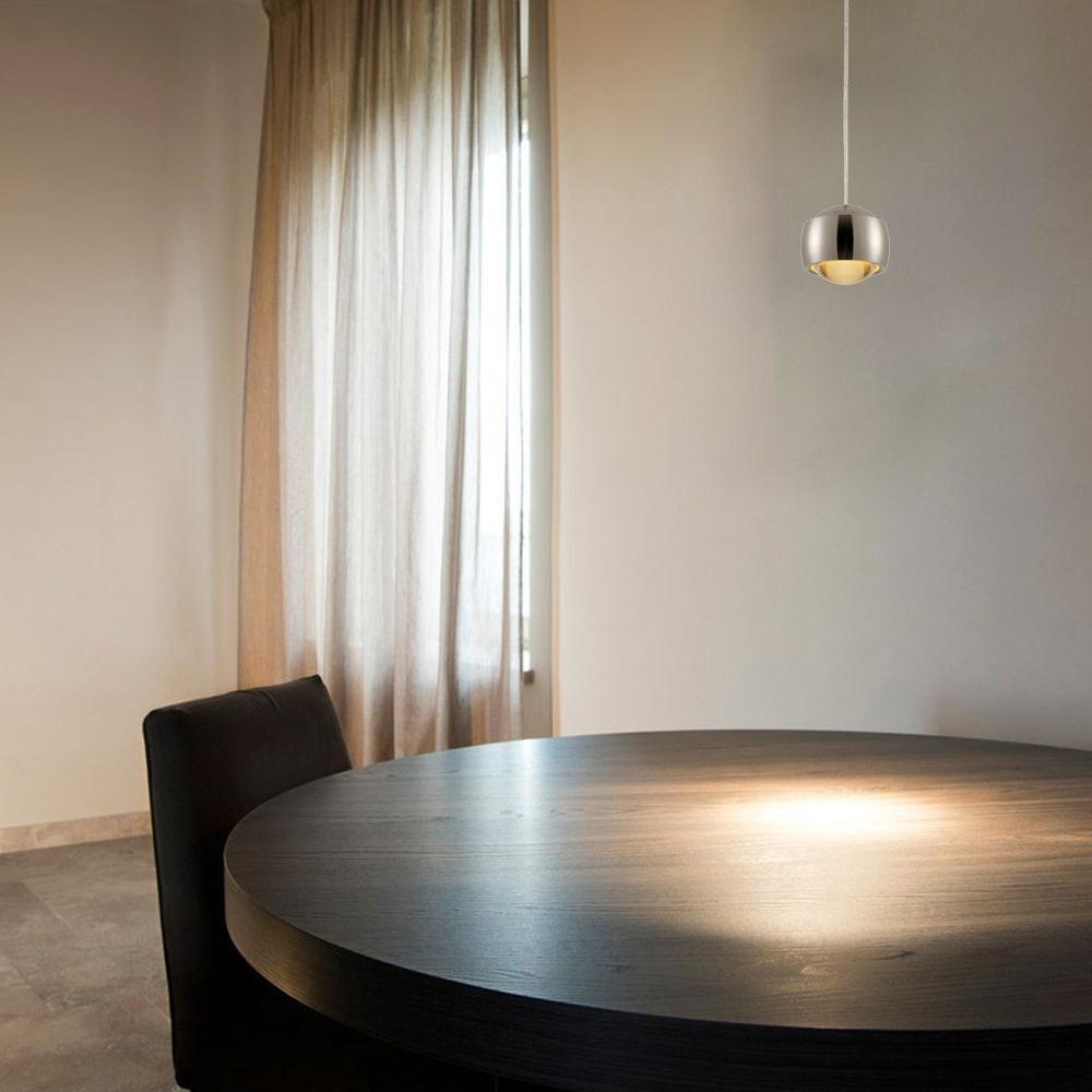 s.LUCE Beam LED Hängeleuchte mit Glaslinse Ø 12cm Alu-Gebürstet 2