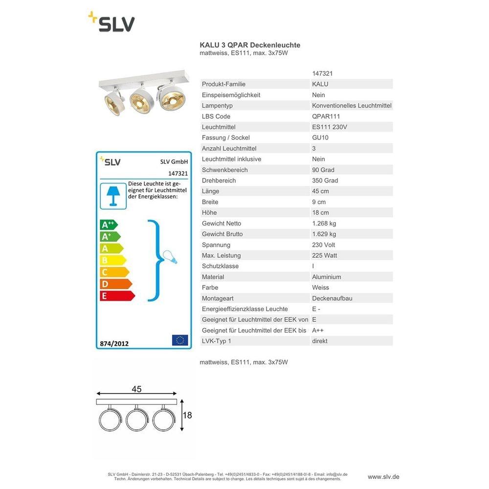 SLV Kalu 3 QPAR Deckenleuchte Weiß ES111 max. 3x75W 4