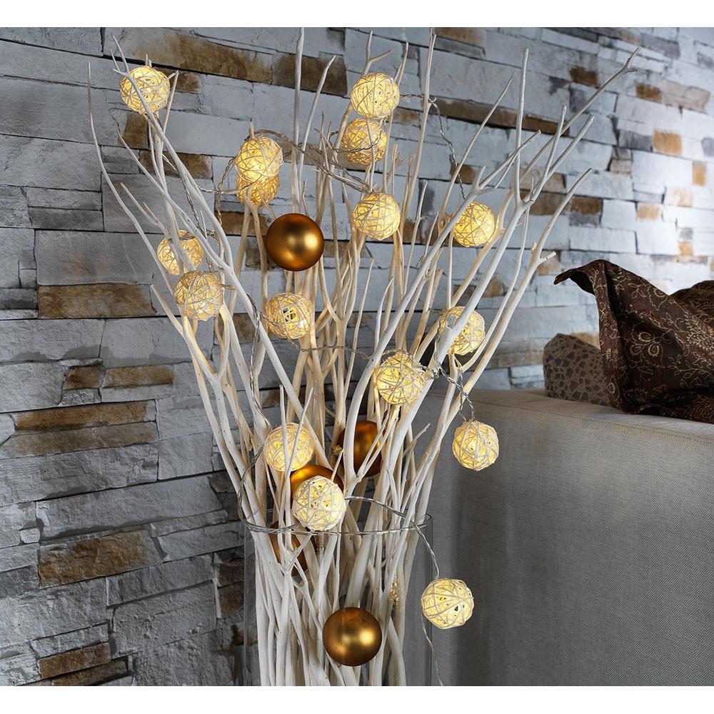 LED Dekolichterkette Kugeln aus geflochtenen Zweigen 16 Warmweiße Dioden 1