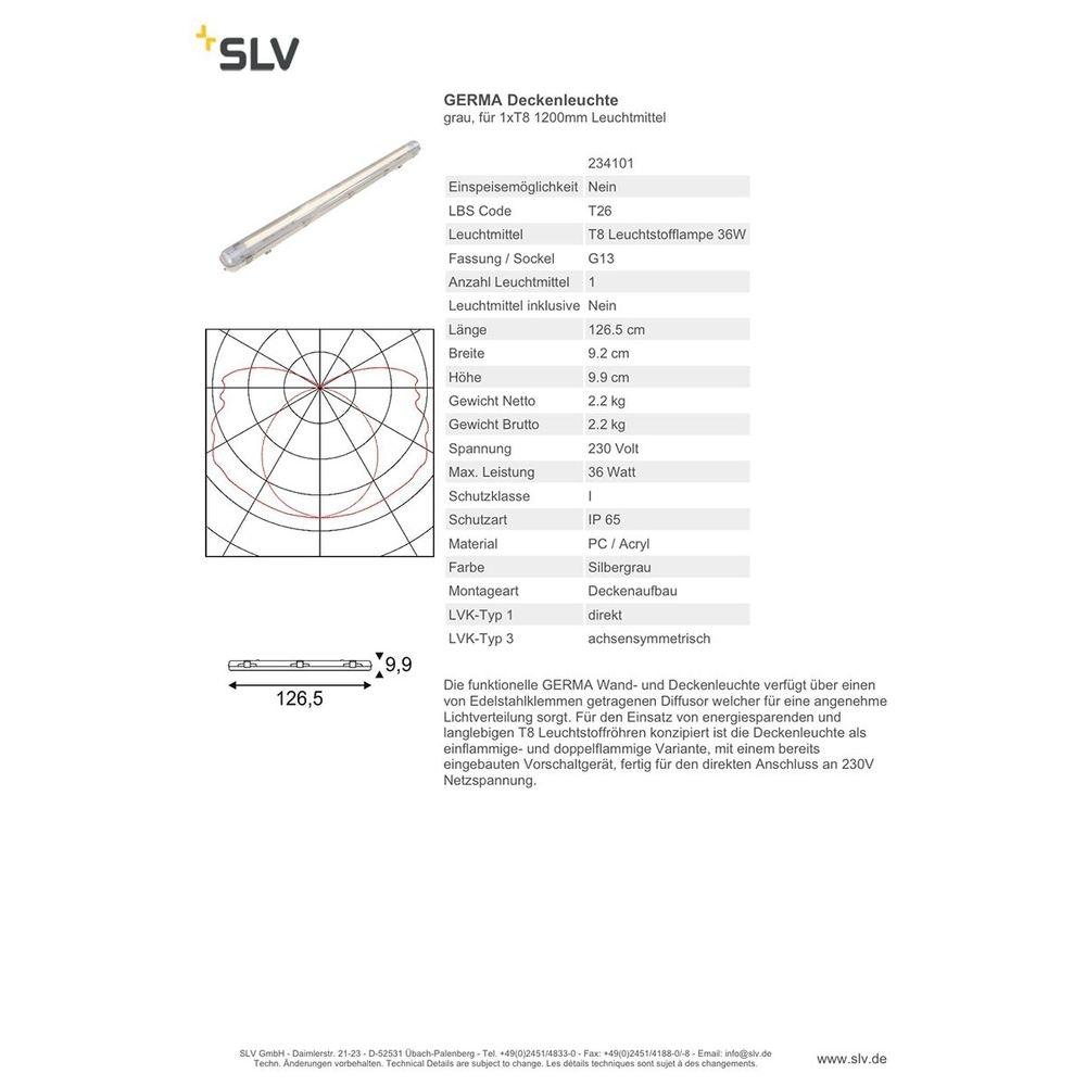 SLV GERMA Deckenleuchte IP65 Single 127cm 1xT8 2